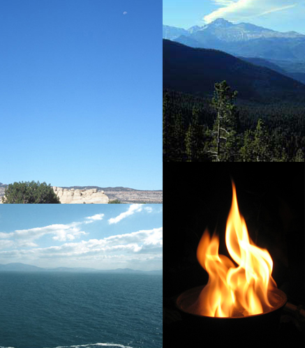 earth, air, fire, water composite image