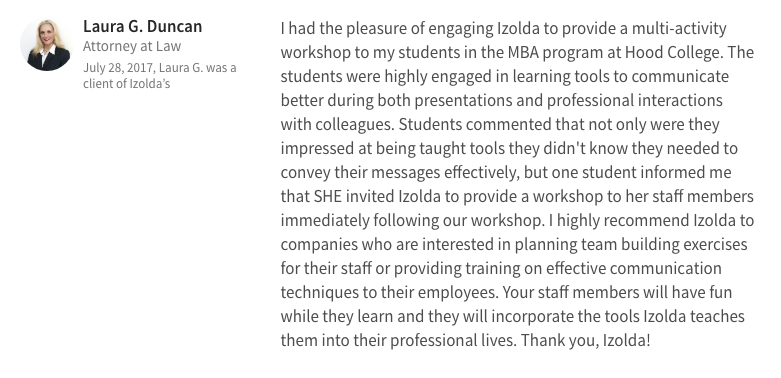 Laura Duncan LinkedIn recommendation reviews