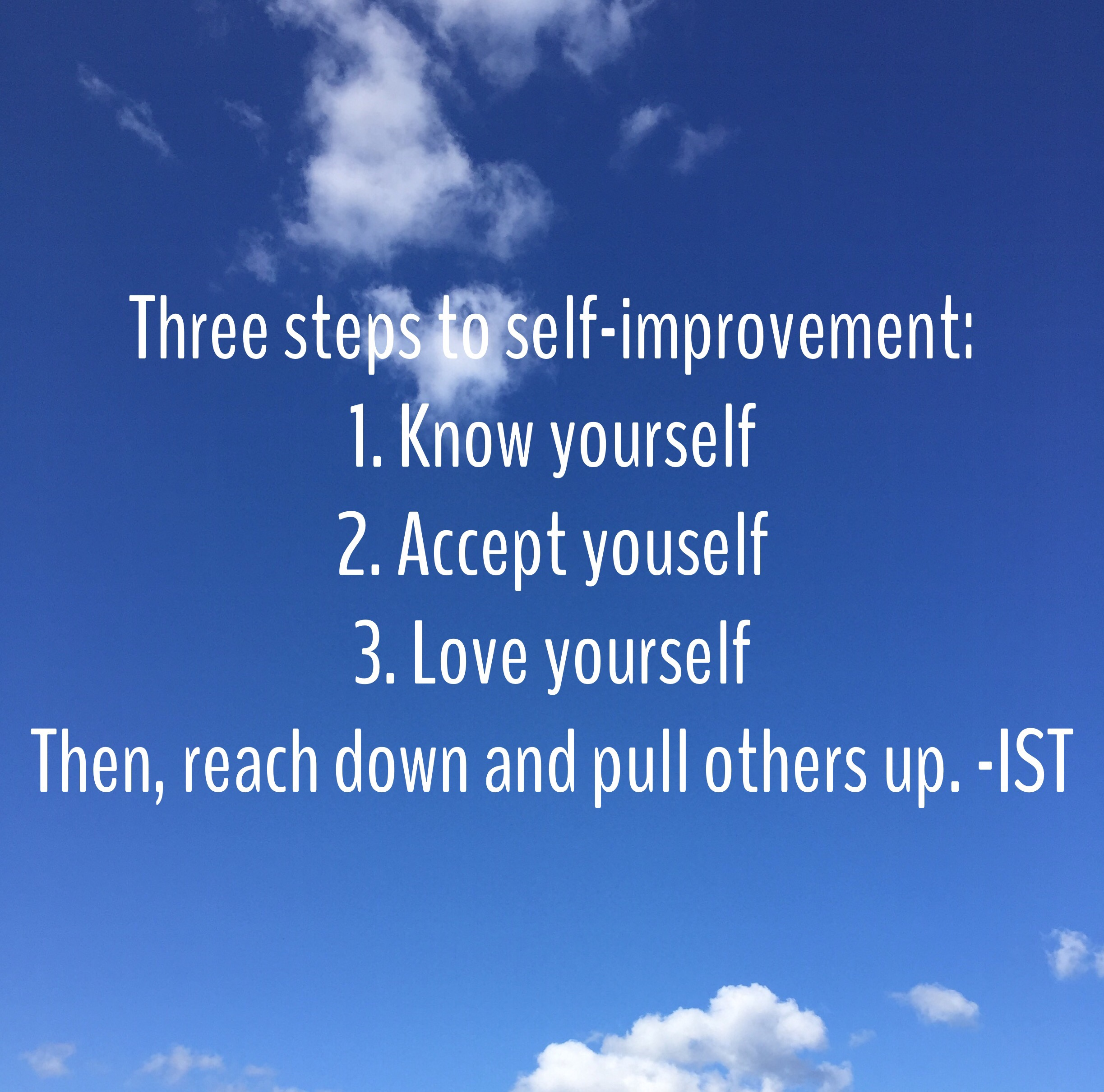 Three steps to self improvement graphic